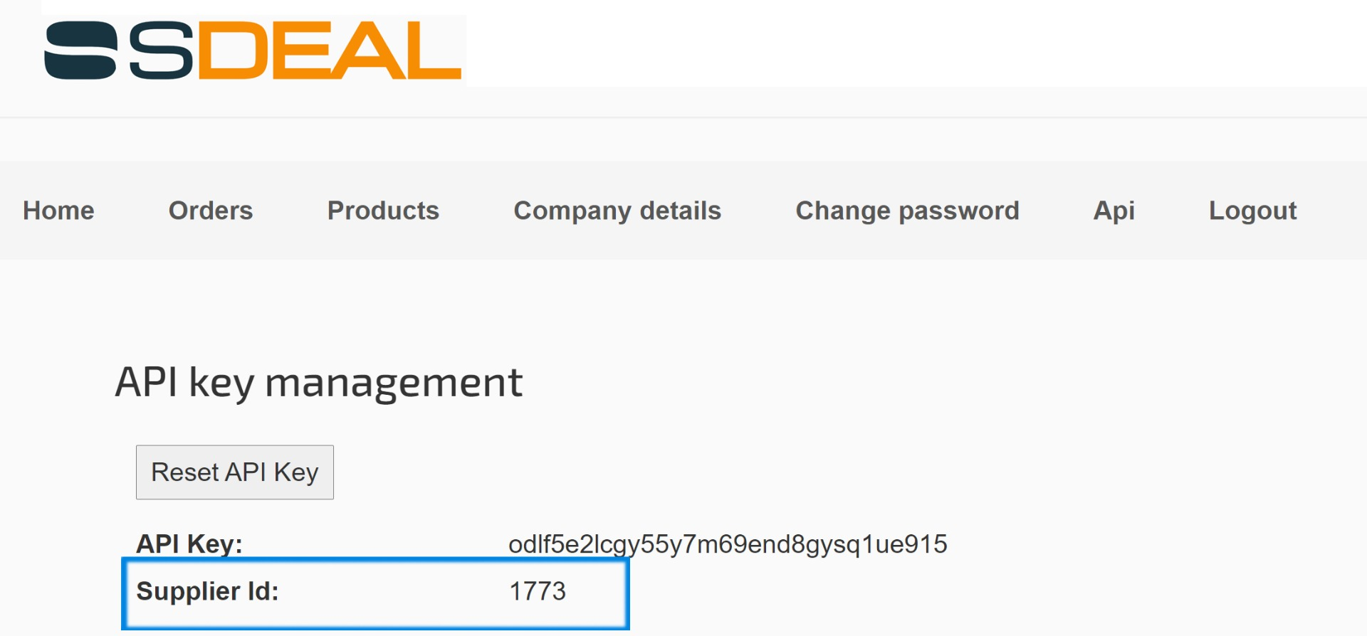 API Supplier ID